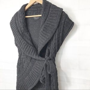 BCBG MaxAzria Dark Gray Sweater Cardigan Wrap M